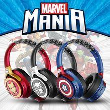 Auriculares inalámbricos de Los Vengadores con certificado de Marvel, cascos compatibles con Bluetooth, tipo Iron Captain America, juego de leopardo negro