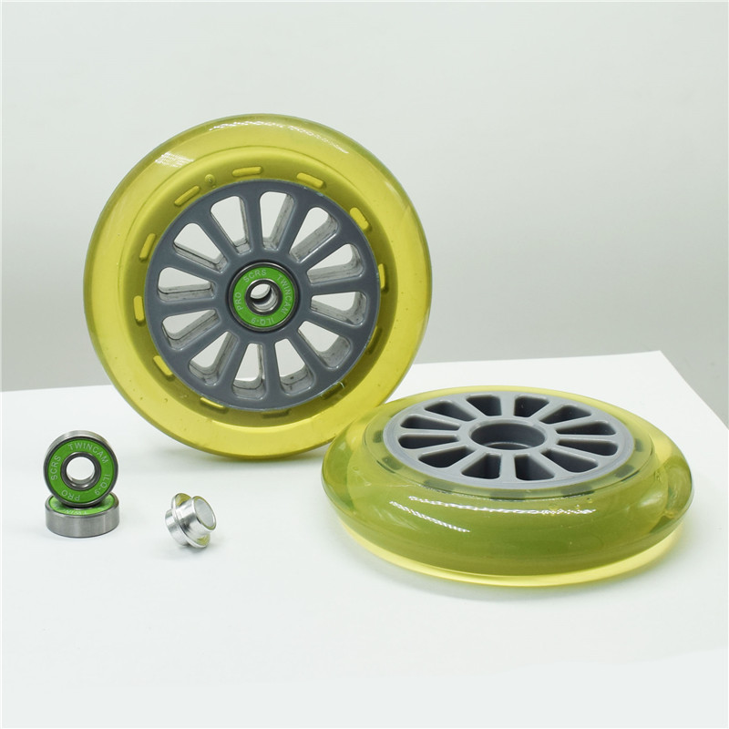 [110mm] Inline Speed Skates Patines Half Transparent Green 83A Durable PU Wheel For Scooter Wheels With ILQ-9 Bearing 2 Pcs/set