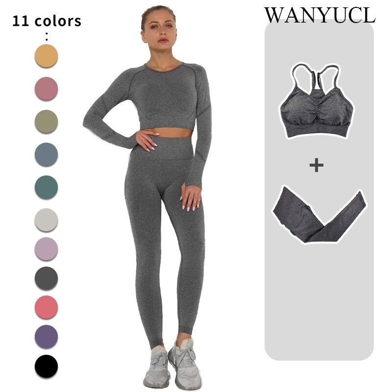 Sem costura conjunto de yoga feminino workout roupas de ginástica de fitness manga longa colheita superior cintura alta leggings + esporte sutiã ternos esportivos 2