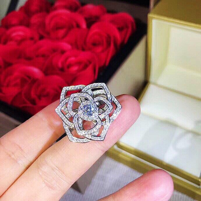 Marque de mode de luxe bijoux S925 en argent sterling creux rose zircon anneau pour les femmes - 5