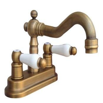 "Antique Brass 4"" Centerset Bathroom Two Holes Basin Faucet Sink Mixer Tap Swivel Spout Double Ceramic Levers mnf326"