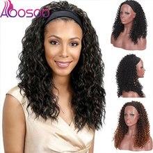 Wig Human-Hair AOOSOO Brazilian with Glueless-Head-Band Scarf Made-Wigs Deep-Wave-Machine
