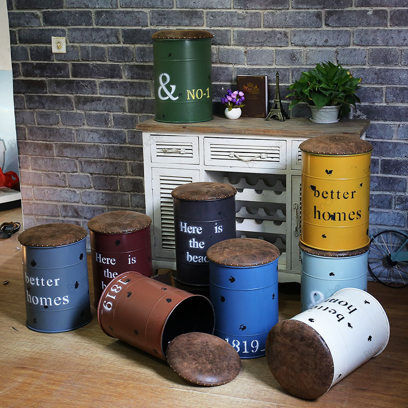Industrial Iron Bucket Stool Bedroom Change Shoe Storage Stools Bench Bar Dining Chairs Sofa Vintage Retro Loft Decor Ottomans