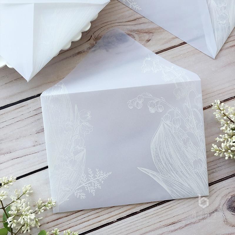 20pcs/set Sulfuric Acid Paper Envelope Translucent Leaves Plant Pattern Envelope For Postcard Gifts Party Wedding 14x19cm