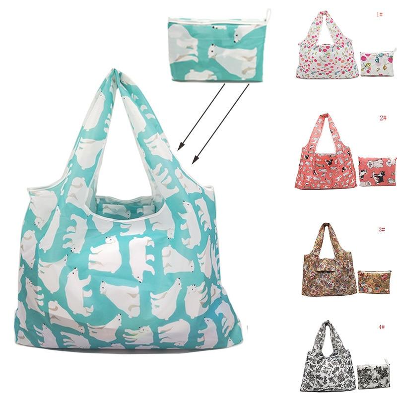 GABWE Printing Foldable Shopping Bag Large Eco Reusable Portable Shoulder Handbag For Travel Grocery Waterproof Folding Pouch