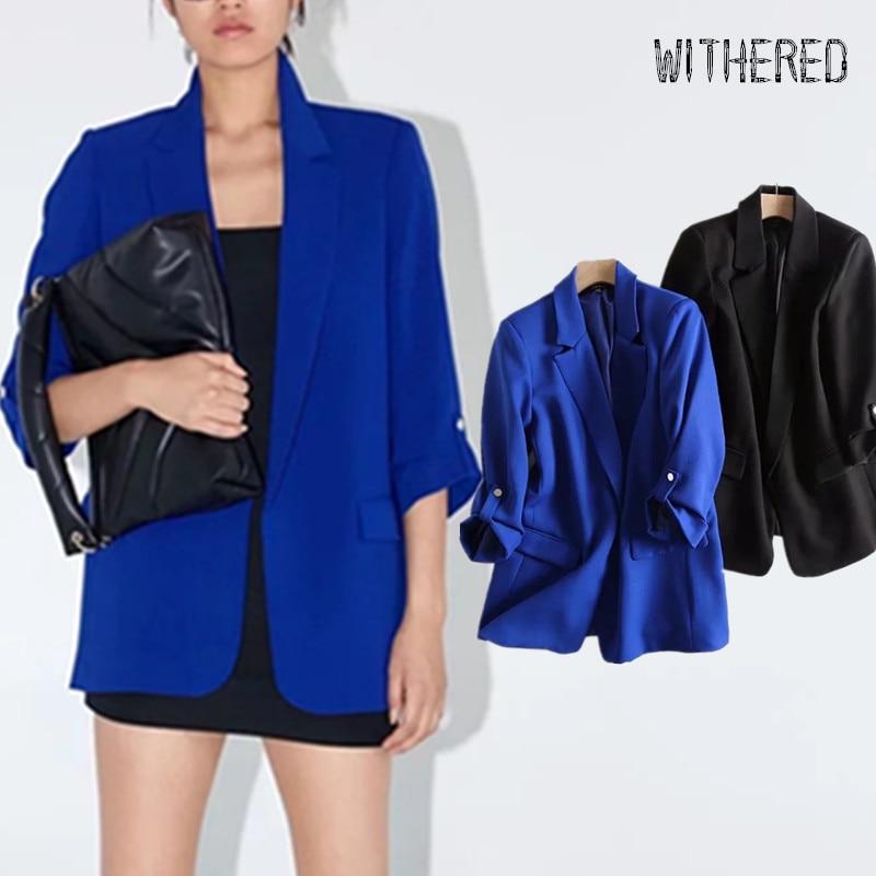 Withered 2019 Autumn Blazer Feminino England Simple Rollup Sleeve Solid Blazer Women Blazer Mujer 2019 Women Blazers And Jackets