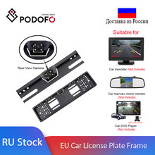 Podofo Auto Rückansicht Kamera Wasserdichte EU Europäische Lizenz Platte Rahmen Parktronic Reverse 4 LED Nachtsicht Backup Kamera