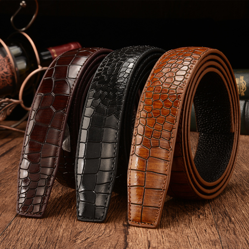 First Layer Crocodile Pattern Genuine Leather 3.5cm Men's Belt Body New Luxury Brand For High Quality No Buckle Strap Ceinture