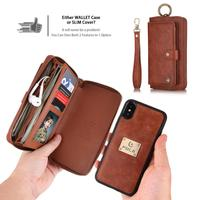 Luxury Wallet Case For iPhone X XS XR XS MAX 6 6S 7 8 Plus Case Magnetic PU Leather 360 Full Cover Card Slot Case with Strap