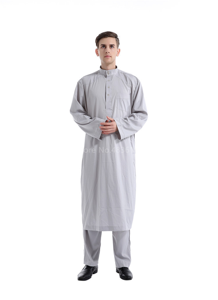 Hef48e1d4473745e1a50292b8e65731ecL - Islamic Clothing Men Muslim Robe Arab Thobe Ramadan Costumes Solid Arabic Pakistan Saudi Arabia Abaya Male Full Sleeve National
