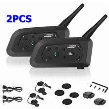 2PCS V6 오토바이 인터폰 블루투스 헬멧 헤드셋 6 라이더 팀 Intercommunicador 모토 인터폰 1200M 하이파이 MP3 GPS