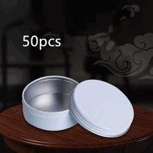 50pcs Empty White Aluminum Cream Jar Pot Nail Art Makeup Lip Gloss Cosmetic DIY Travel Metal Tea Candy Tins Containers