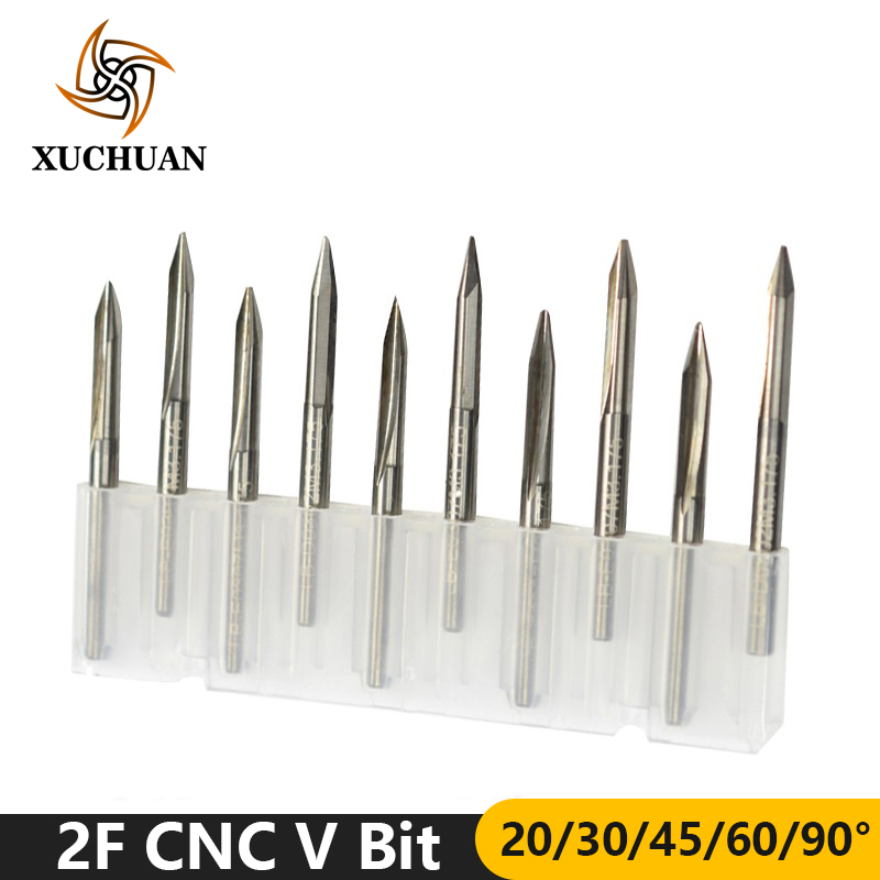 10pcs 20/30/45/60/90 Degrees CNC V Bit Carbide End Mill 2 Flutes V Shape Engraving Bit 3.175mm Shank End Milling Cutter