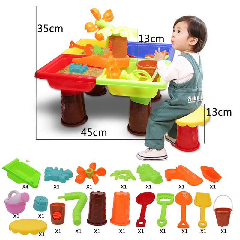 Beach Toys Play Sand Toys Set Children Beach Table Interactive Beach Play Water Sand Molds Molds Kit Kid Baby Outdoor Games