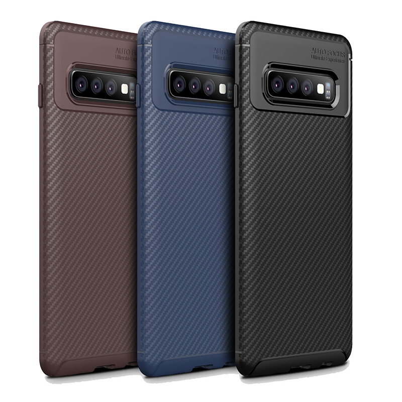 For Samsung S10 Case Dirt-Resistant Shockproof Soft TPU Phone Case Cover Carbon Fiber Pattern Back Protect Cover