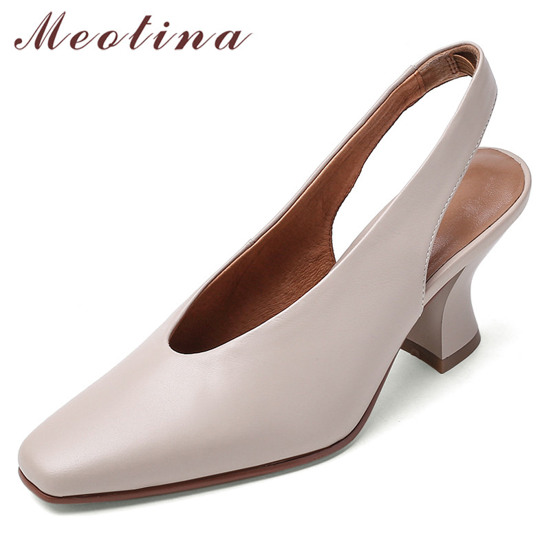 Meotina High Heels Women Pumps Genuine Leather Strange Style High Heel Slingbacks Shoes Cow Leather Square Toe Gloves Shoes Lady