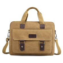 Male Briefcase Laptop Crossbody Bags Men Fashion Canvas Vintage Messenger Shoulder Tote Business Office Handbag Khaki Brown
