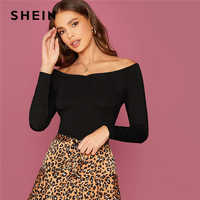 Shein fora do ombro magro cabido superior feminino elegante t outono manga longa escritório senhoras sólido magro t-shirts