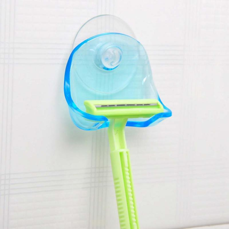 1PC Plastic Sucked Suction Cup Razor Shaver Holder Wall-mounted Rack Shaver Organizer Cleaning Supplies Holder