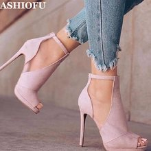 ASHIOFU Handmade Ladies High Heel Pumps Buckle Ankel Strap Party Prom Dress Shoes Peep-toe Daily Wear Fashion Court Shoes(China)