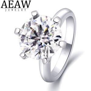 5.0ct D color VVS1 кольцо для помолвки в форме сердца и стрелы с круглой огранкой Moissanite карат 11 мм Настоящее 18k Белое Золото