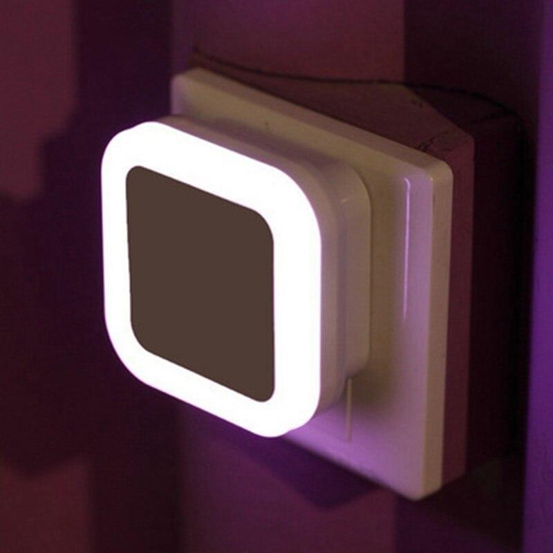 Light Sensor Control Night Light EU/US Plug Auto Mini LED Novelty Square Bedroom Wall Lamp For Baby Kids Romantic Gift
