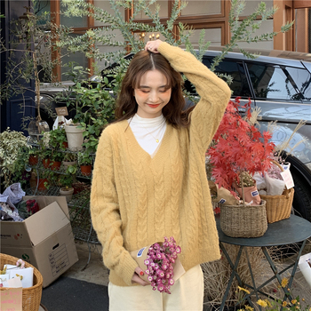 Ailegogo Knitted Women Sweater Autumn Winter Casual Female V-neck Knit Pullovers Solid Color Loose Fit Ladies Knitwear Tops 6