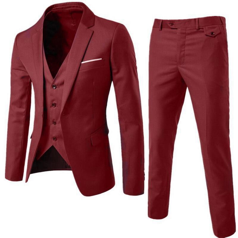 Hot Men Blazers Suit Sets 3 Pcs Blazer Suit +Vest +Pants Business Suits Sets Solid Color Oversize Dress Business Suit Set