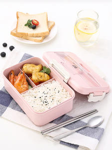 Lunch-Box Spoon Dinnerware Chopsticks Food-Storage-Container Wheat-Straw Microwave Office