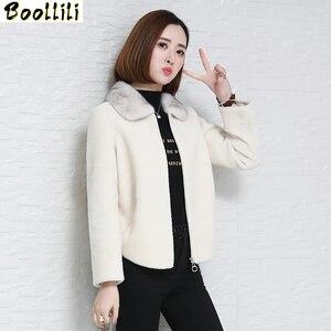 Boollili, 100% шерстяная куртка, пальто с натуральным мехом, женская одежда, 2020, осенне-зимнее пальто для женщин, норковый меховой воротник, Manteau Femme