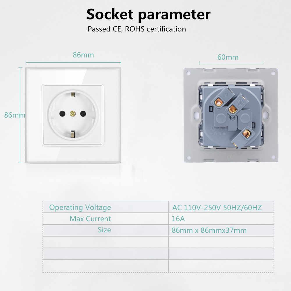 SMATRUL איחוד אירופי תקן שקע חשמל תקע הארקה AC 110 ~ 250V 16A חשמל לשקע קריסטל זכוכית פנל חיווט