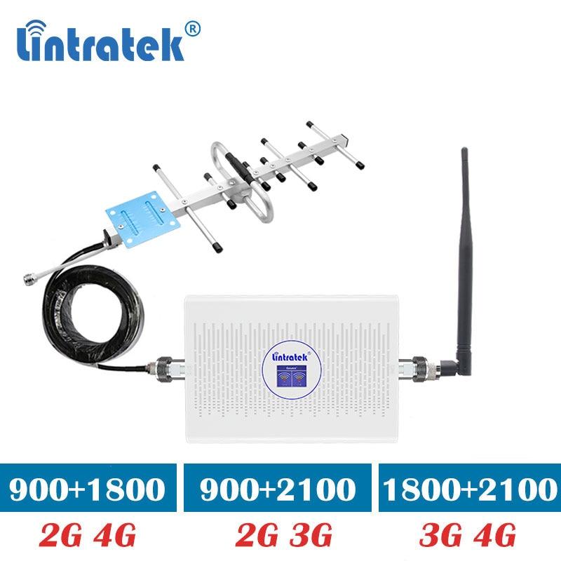 Lintratek 70dB 3G 4G 1800 2100mhz Repeater GSM 900 1800 2G 4G LTE Cellular Signal Booster 2100 3G Amplifier Yagi Antenna Kit Dj
