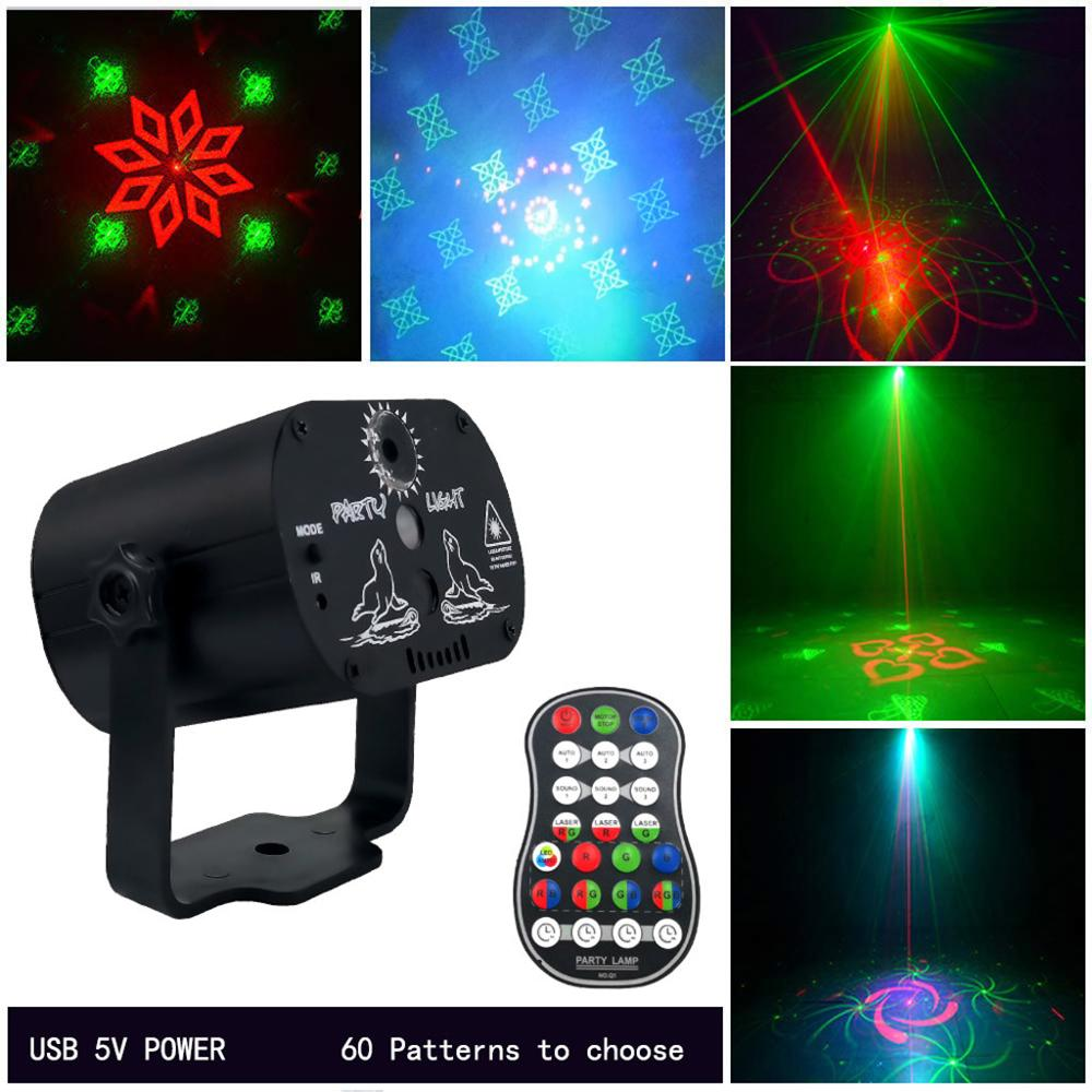 60 Pattern Projector Stage Lights Mini LED RGB Lighting Party Disco DJ KTV Laser Stage Light