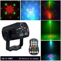 60 muster Projektor Bühne Lichter Mini LED RGB Beleuchtung Party Disco DJ KTV Laser Bühne Licht|Bühnen-Lichteffekt|   -