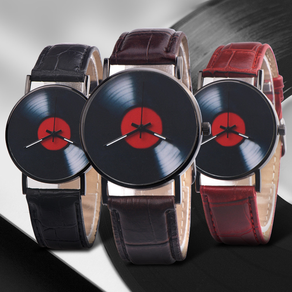 Hef4a4c1bc3bd4cd4b0035daf736f2f5dN 2020 Fasion Men's Watch Neutral Watch Retro Design Brand Analog Vinyl Record Men Women Quartz Alloy Watch Gift Female Clock NEW