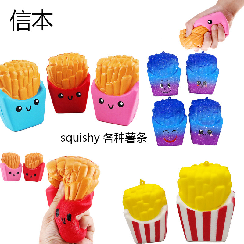 French Fries Cream Scented Compress Slow Rising Squish Anti Stress Stress Reliever Squishies Soft Scented Kawaii Funn Toys