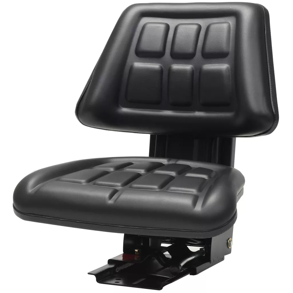 VidaXL High-Quality Tractor Seat Adjustment With Suspension Black Water-Resistant PVC Material Hydraulic Engineering Vehicle
