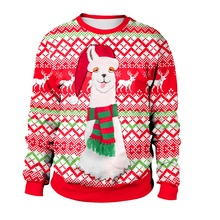 2019 New Christmas Sweater Ugly Santa Claus Print Loose  Unisex Pullover Novelty Autumn Winter Top Clothing