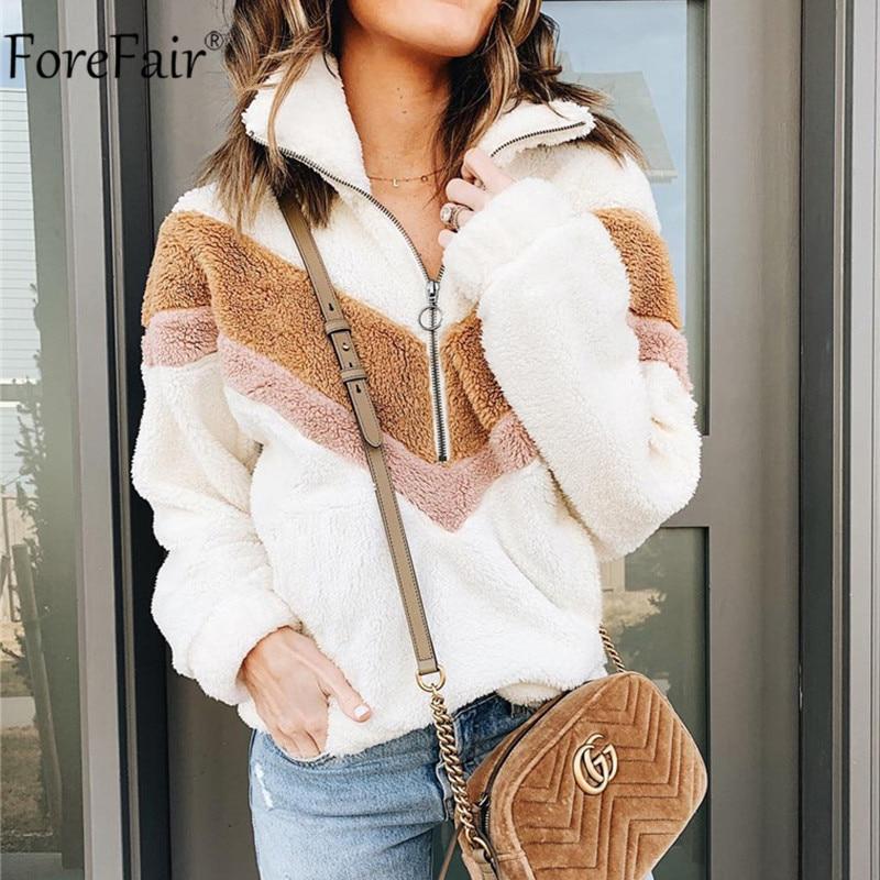 Forefair Patchwork Zipper Sweatshirt Women Fur Fleece Long Sleeve Casual Autumn Winter White Pink Sweatshirt