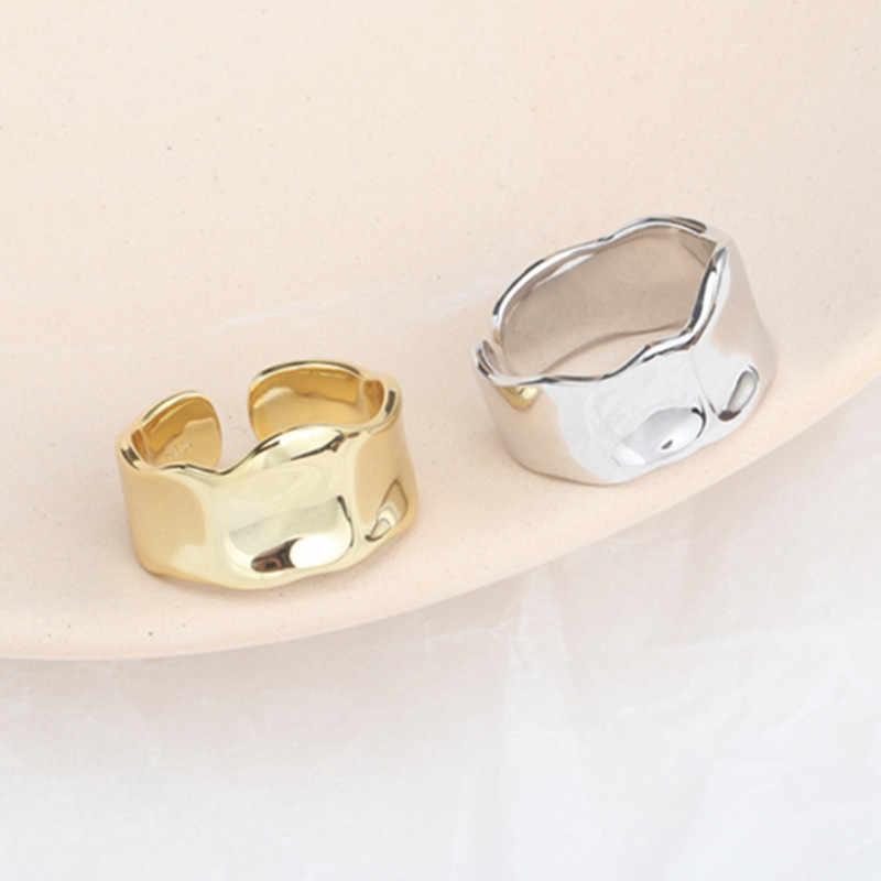 Светильник для тела, для лица, 925 пробы, серебряные кольца, нестандартные, широкие, волнистые, открытые кольца, ручная работа, для женщин, предотвращают аллергию