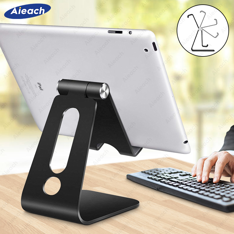 Aieach Desktop Holder Tablet Stand For Ipad 9.7 10.2 10.5 11 Inch Rotation Aluminium Tablet Stand Secure For Samsung Xiaomi
