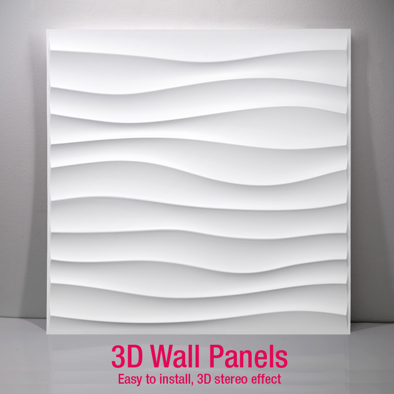 50x50cm 3D Art Wall Panel Diamond Shark Wave Wood Carving Wall Sticker 3D Background Wall Sticker Decorative Board House Decor