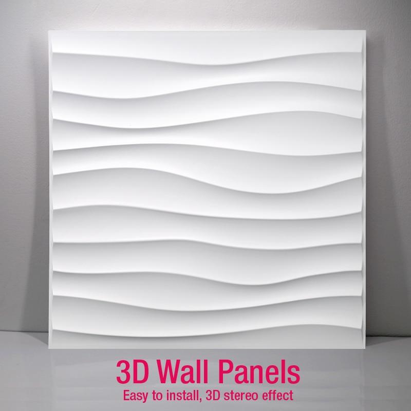 50x50cm 3D Art Wall Panel Diamond Shark Wave Wood Carving Wall Sticker 3D Background Wall Sticker Decorative Board House Decor
