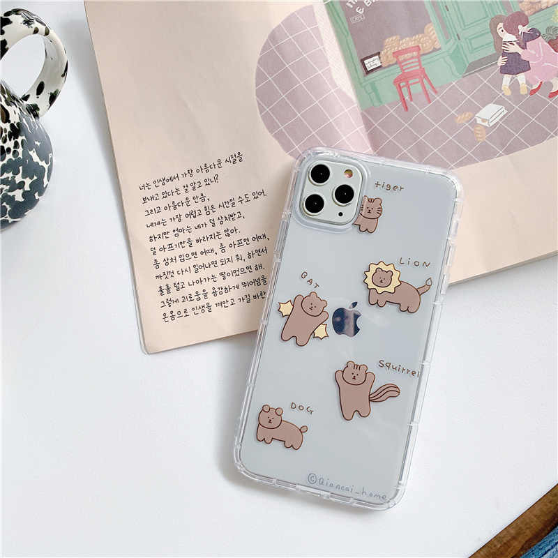 Чехол с изображением Льва медведя для iphone XS Max 7 8 Plus, мягкий чехол для телефона с изображением белки, забавных медведей, раковины для iphone 11Pro Max x xr 11