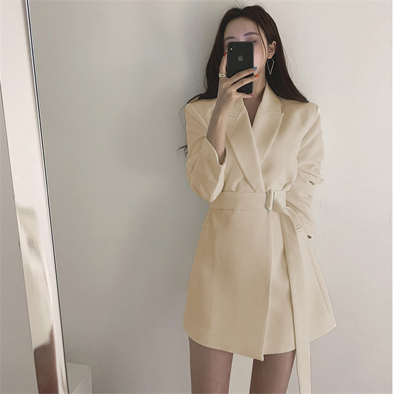 Alien Kitty Chic Vintage Stylish Office Ladies All-Match Sashes Casual Lace-Up Loose Solid Waist-Controlled Mid-Length Blazers