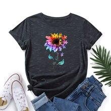 Zomer Plus Size T-shirt Vrouwen Worden Soort Zonnebloem Print Tshirt 100% Katoen Vrouwen T-shirt O Hals Korte Mouwen Grafische tees Tops