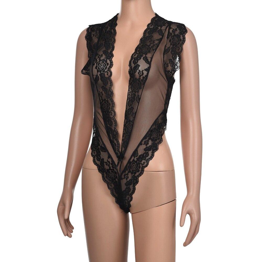 Hef4b4b00c0d941a0a6bc04f6abe6aa18M Hot Sexy Women Bra Set Sexy Lace Deep V Erotic Underwear Lingerie Black Solid Transparent Bra Set Lingerie G-string Sleepwear @5