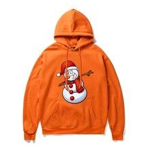 Snowman Feece Hoodie Men/woman Autumn Winter Fashion Long Sleeve Male Casual Brand Clothing Hoody Jacket Plus Size Orange