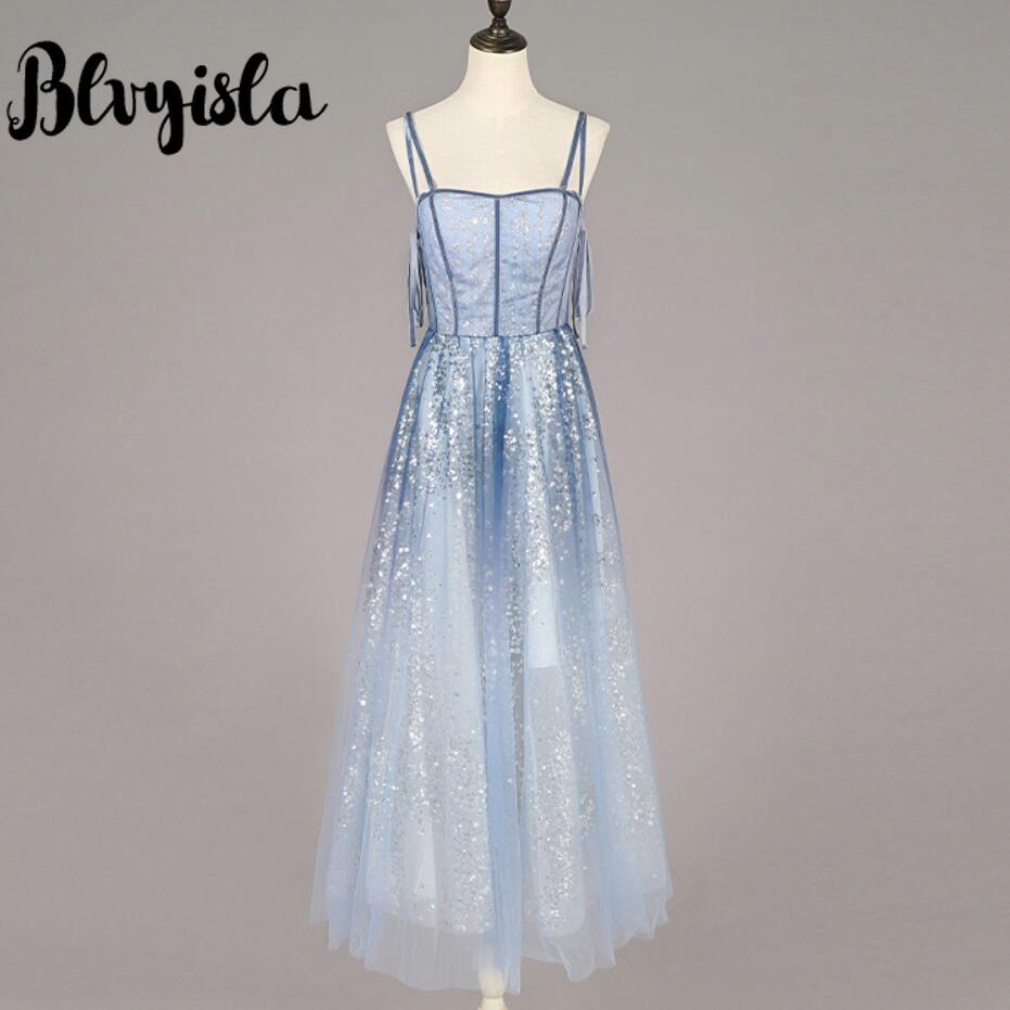 Blvyisla broderie paillettes maille robe Slim asie dame robe de soirée fronde Bandage dos robes Vestidos