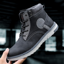 2019 New Men Boots Winter Plush Keep Warm Men Snow Boots Men Leather Waterproof Winter Boots Outdoor Men Footwear Ankle Shoes(China)